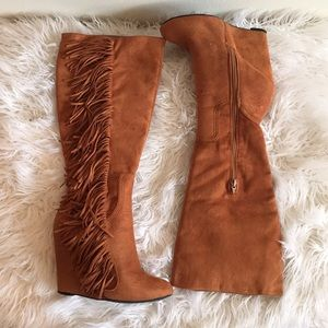 TAN FRINGE WEDGE BOOTS